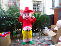 Happy pig mascot costume adult size cartoon clothing hot night of Christmas revelry