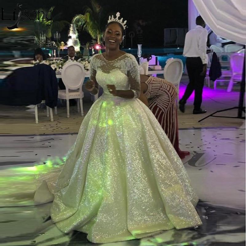 Sparkly Sequins Wedding Dress Arabic Dubai Glitter Bridal Wedding Gowns Half Sleeves Court Train Vestido De Noiva Plus Size