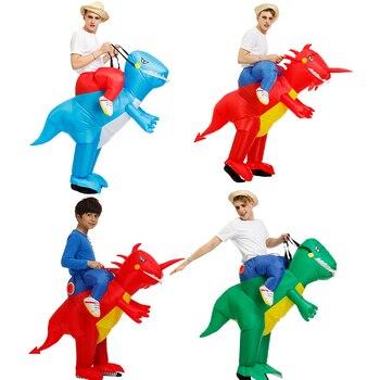 Jazdy kostiumy Halloween zwierząt Cosplay nadmuchiwany kostium dinozaura czerwony, niebieski, zielony, Fan kostiumy dla kobiet mężczyźni chłopiec dziewczyna