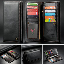 CaseMe Universal Leather Wallet Case For iPhone XR XS Max X 8 7 6S 5 SE For Samsung Note 9 8 S9 Card Zipper Wallet Phone Bag