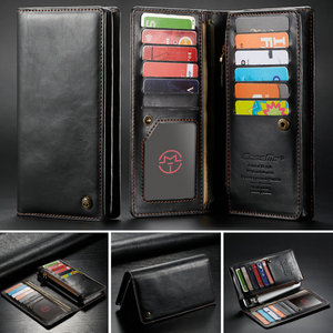 Image 1 - CaseMe Universal Leather Wallet Case For iPhone XR XS Max X 8 7 6S 5 SE For Samsung Note 9 8 S9 Card Zipper Wallet Phone Bag