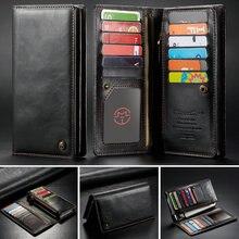 CaseMe Universal Leather Wallet Case Voor iPhone XR XS Max X 8 7 6 s 5 SE Voor Samsung Note 9 8 S9 Kaart Rits Portemonnee Telefoon Tas