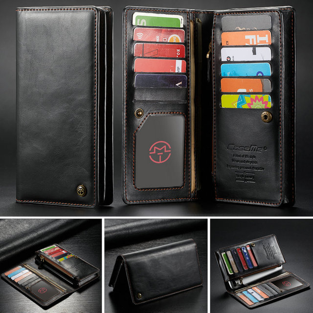 CaseMe אוניברסלי עור ארנק מקרה עבור iPhone XR XS מקסימום X 8 7 6 s 5 SE לסמסונג הערה 9 8 S9 כרטיס רוכסן ארנק טלפון תיק