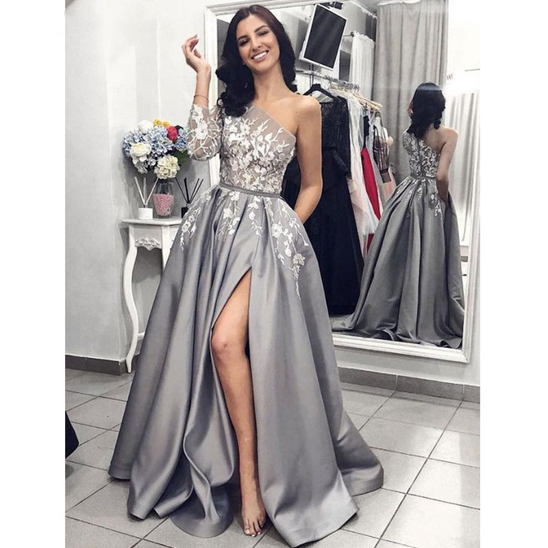 Sexy Split   Prom     Dresses   Satin Lace Appliques Party Gown One Shoulder Long Evening   Dresses   A-line Grey Red Black Robe De Soiree