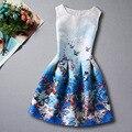 2017 Muchachas Del Verano Vestidos Para Las Niñas Vestidos de Princesa Flor de Mariposa de Impresión Diseñador Formal Partido Adolescentes Vestir Ropa de Los Cabritos