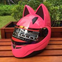 Скидка, мотоциклетный летний сезон, для мужчин и женщин, противотуманный шлем, для кроссовых автомобилей, модный шлем с кошачьими ушками
