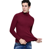 Men Sweaters Solid Color Fashion Solid Color Twist Turtleneck Pullover Long-sleeve Sweaters Top Sell 2018 Newest