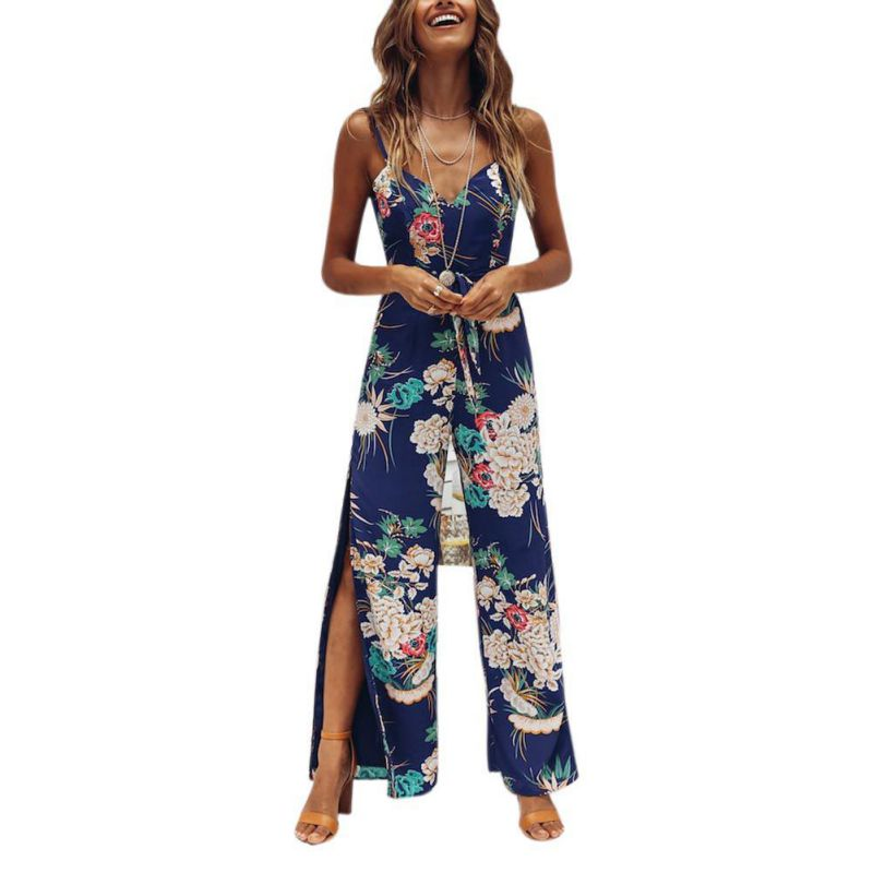 Floral Print Jumpsuit Spaghetti Strap Backless Beach Full Length Overalls Sexy Backless High Slit Summer Women Rompers