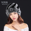 YCFUR Genuine Fur Beanies Female New Arrival Knitted Natural Rex Rabbit Fur Caps With Fur Flowers Hats For Women