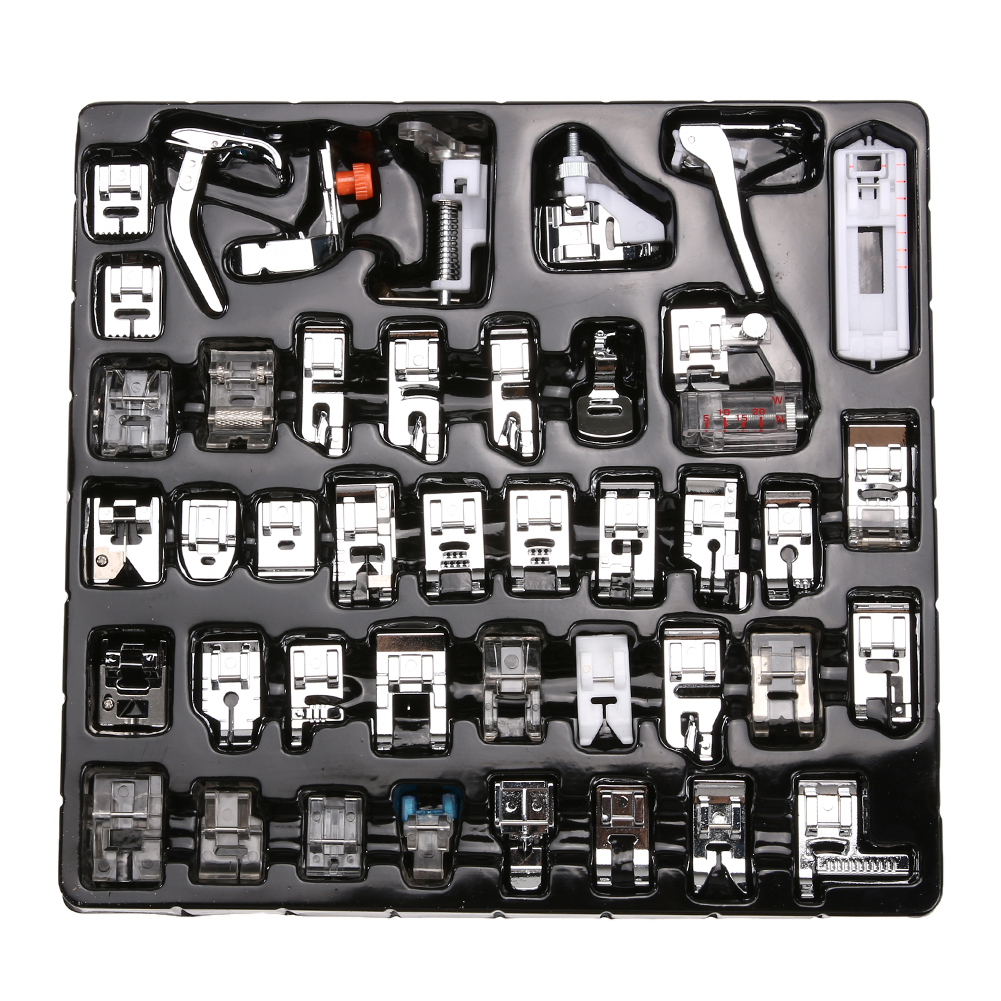 42 Pcs Domestic Sewing Machine Braiding Blind Stitch Darning Presser Foot Feet Kit Set With Box Snap On For Brother Singer Set