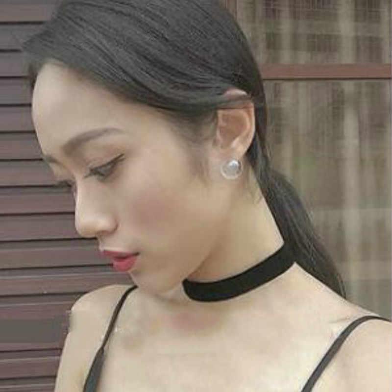 Korean fashion simple and elegant glass transparent foam handmade funny personality original soft nail earrings ladies gifts