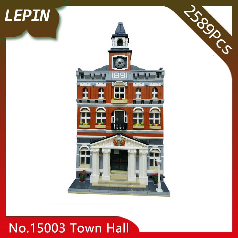 Lepin 15003 Kid's Toys The Town Hall Model Street View 2589pcs Building Kits Building Blocks Bricks as Gift a toy a dream lepin 15008 2462pcs city street creator green grocer model building kits blocks bricks compatible 10185