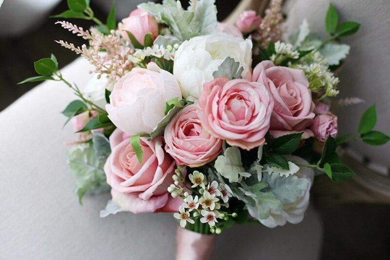 3.8  Classic Smoked Pink Bridal Bouquets 2018 New Elegant Synthetic Holding Flower Bridal  Nation Seashore Wedding ceremony Provides HTB1EqRWv1uSBuNjSsziq6zq8pXaM