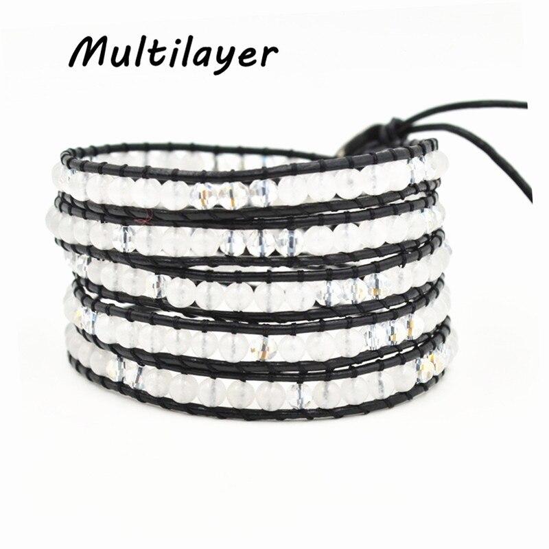 Multilayer bracelet white stone/crystal beads on Leather Bracelet for Women Men Friendship Wrap Bracelet Christmas Gift