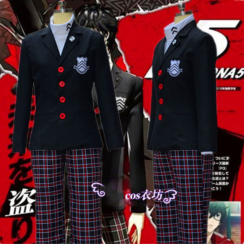 Anime Game Persona 5 Akira Kurusu Men Coat Ren Amamiya Cosplay Costumes Halloween Girls School Uniform for Unisex 2018 persona 5 makoto nijima cosplay costumes women school uniform