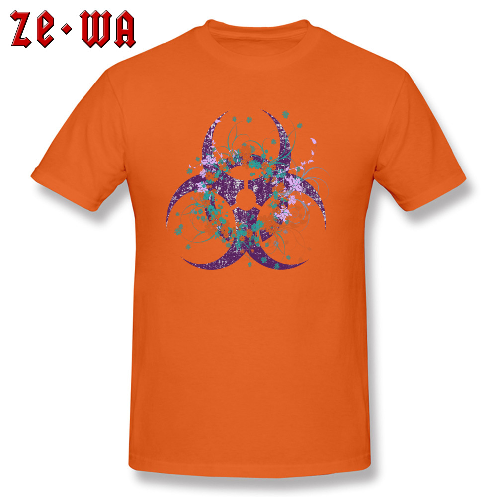 Normal Beautiful Biohazard Tops Shirt for Students 2018 Summer Round Neck Cotton Short Sleeve Top T-shirts 3D Printed T Shirt Beautiful Biohazard orange