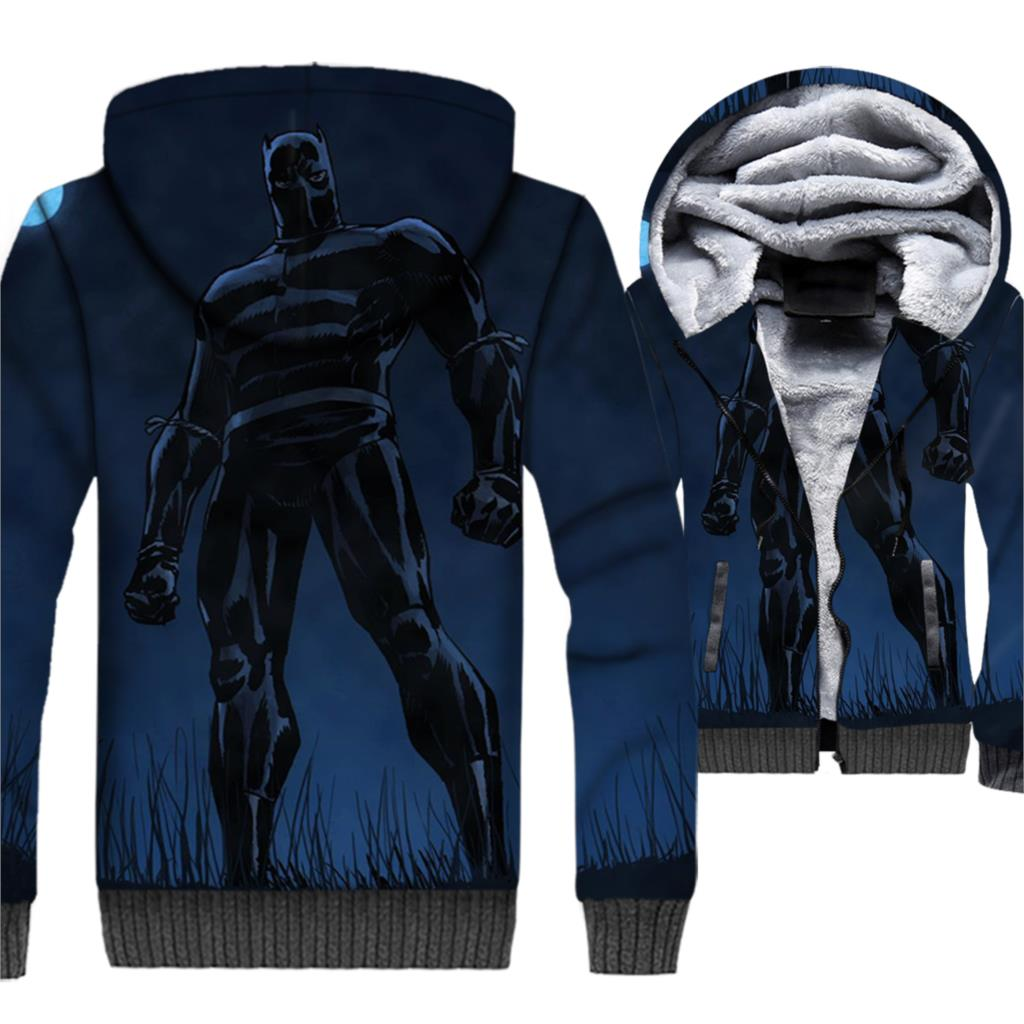 Black Panther Jacket 3D Hoodie Men Killmonger Hooded Sweatshirt Winter Thick Fleece Warm Hipster Movie Coat Cool Sportswear