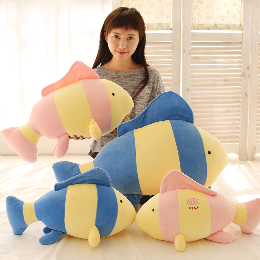 Cute Big Fish Plush Toy Pillows Large Stuffed Animals Baby Doll Soft Toys Plush Pillow Animal Kids Valentines Day Gift 80A0061
