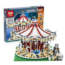 Lepin 15013 3263PCS Presale City Street Creator Carousel Model Building Kits Minifigure Blocks Toy Compatible 10196 Christmas