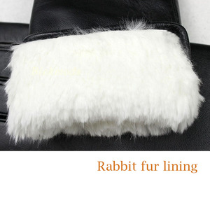 Image 4 - Sheepskin leather gloves womens thick winter warm white rabbit fur lining new ladies touch screen gloves
