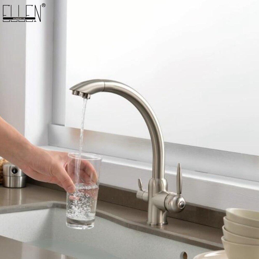 Robinets de cuisine en laiton massif grue pour cuisine filtre à eau purifiée robinet trois voies évier mélangeur 3 voies cuisine robinet ML91-A