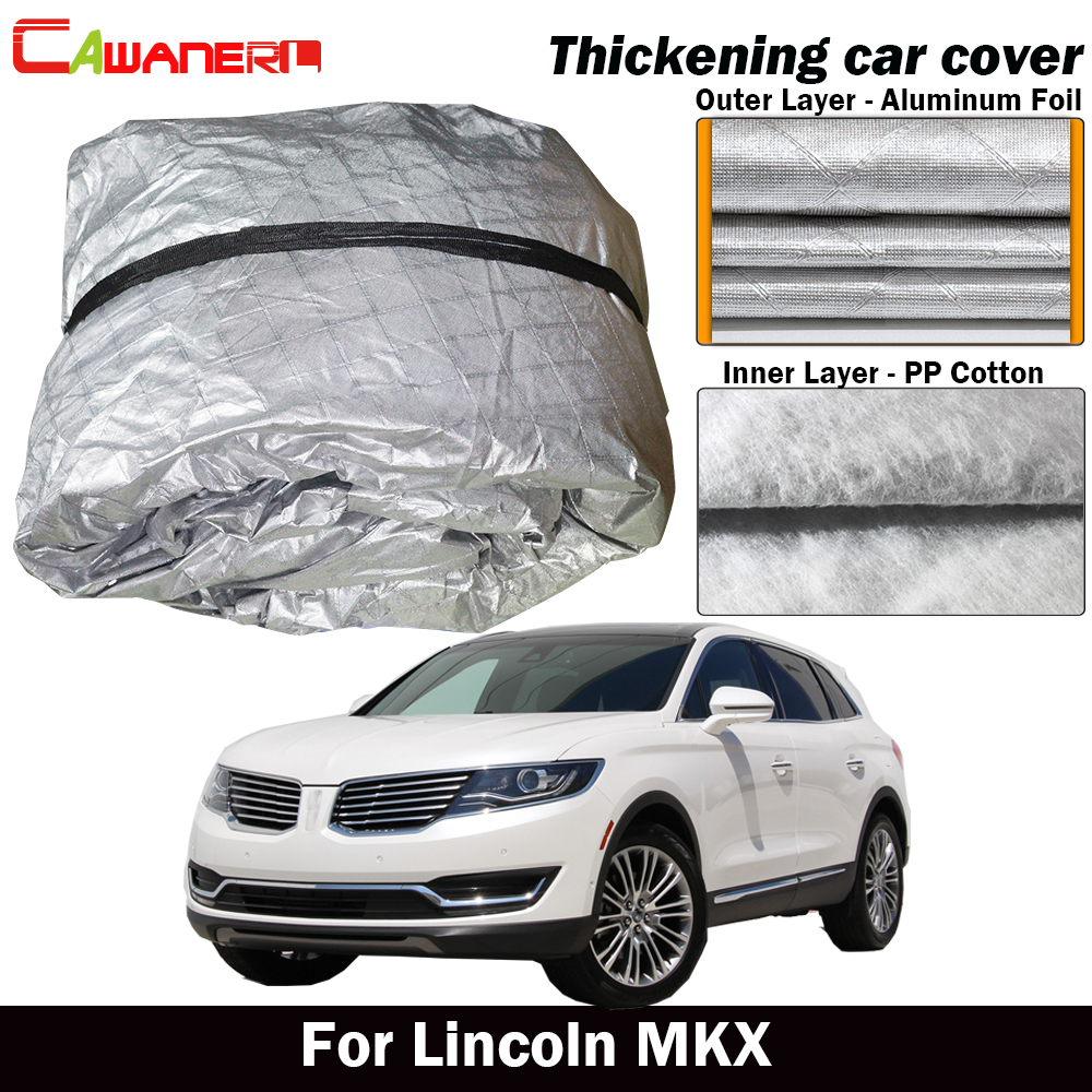 Cawanerl For Lincoln MKX Three Layer Thick Car Cover Waterproof Outdoor Sun Shade Rain Snow Hail Dust Protection Cover