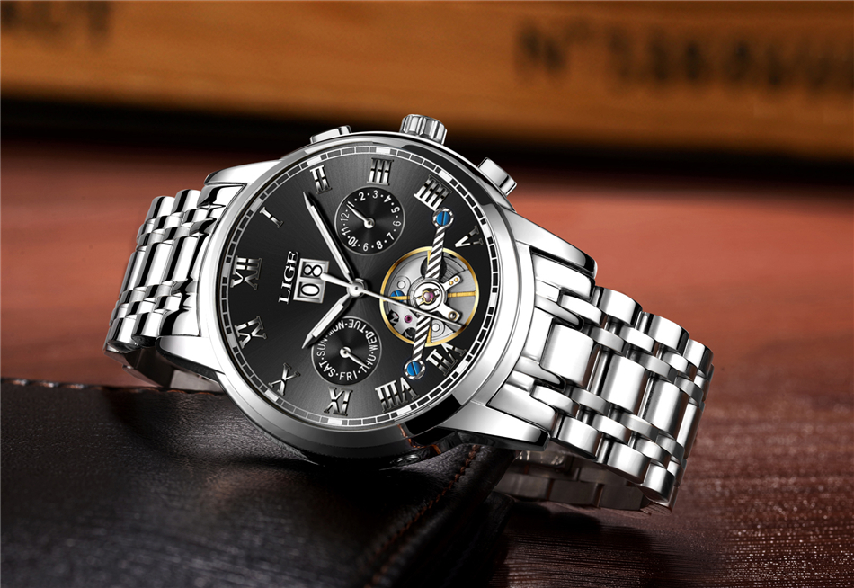 Mens Watches Top Brand LIGE Fashion Luxury Business Automatic Mechanical Men Military Steel Waterproof Clock Relogio Masculino