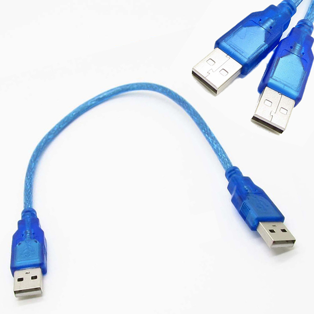 1pc 30cm Blue USB 2.0 Type A Male to USB Male Adapter Cable High Quality USB 2.0 Data Extension Cable Cord Mayitr 3