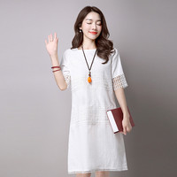 MOSHU Vintage Women Cotton Linen Dress Female Casual Midi Summer Dress Solid Loose Half Hollow Out Vestido