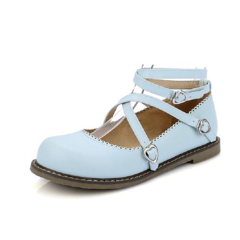 Fashion Sweet Princess Shoes Womens Round Toe Casual Flats Buckle Cross Strap Mary Jane Girls Ballet Plus Size 34~43
