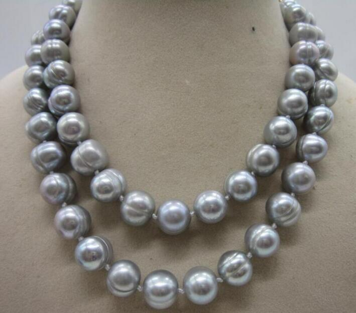 Magnifique collier de perles baroques gris 10-12 MM 36 pouces 50Magnifique collier de perles baroques gris 10-12 MM 36 pouces 50