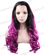 Fashion Ombre Wavy Synthetic Lace Front Wig Long Two Tone Color Black To Purple Heat Resistant Hair Wigs For Women