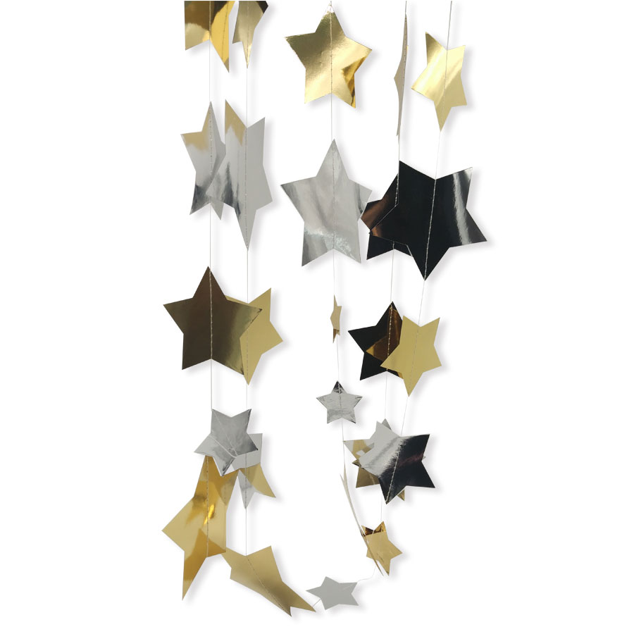 Gold star ornaments - Nicro 4m Gold Silver Foil Star Garland Wall Hanging Decor Star String Ornaments Curtain For Birthday