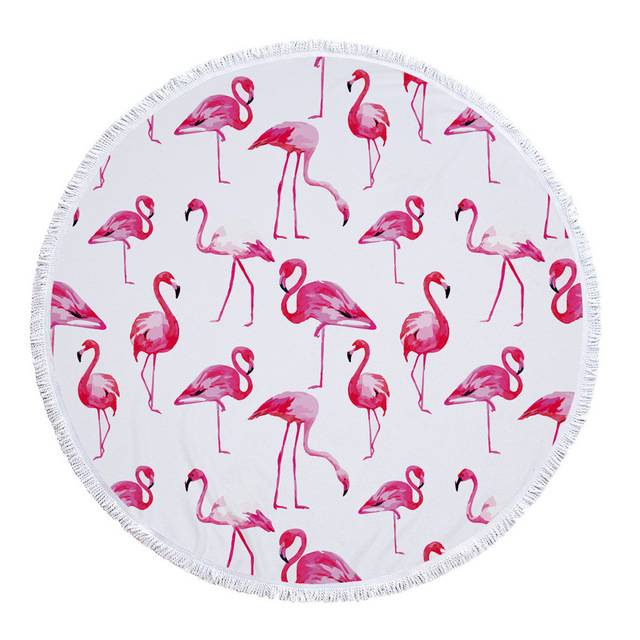 2117b7d8c926b 2018 Flamingo Design 150CM Round Beach Towel with Tassels 100% Soft  Microfiber Fabric Large Bath
