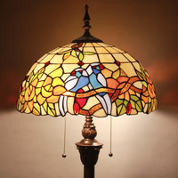 16 inch Tiffany European style retro art floor lamp colorful bird for living room decorative staned glass warm bedroom