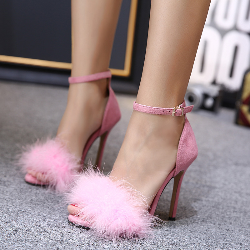 Women Summer Shoes gladiator High Heel Sandals 2017 Fashion Fur thin heels Sandlias women Sandals Sexy Ladies Shoes size 35-40 5