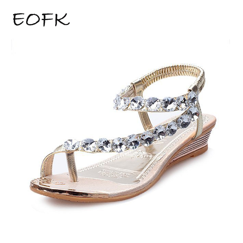EOFK Women Sandals Flat Casual Women's Shoes S Wedges Crystal Ladies Sandals Low Heel Fashion Female Shoes