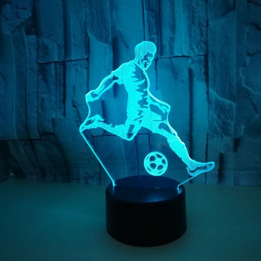 Colorful Touch 3d Lamp Illusion Led Night Light USB Table Lamp for Children Baby Kids Gift Bedside Bedroom Football image