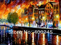 Oil painting for sale AMSTERDAM WINTER REFLECTION Modern Landscape painting for home decor High quality 100%Hand painted free