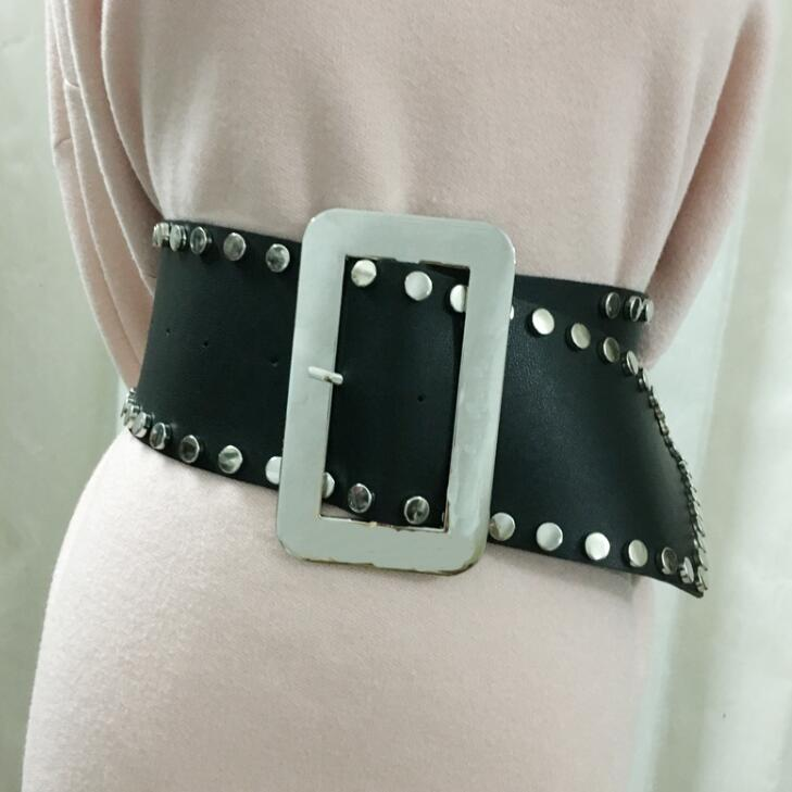 Women's Runway Fashion Silver Buckle Pu Leather Cummerbunds Female Dress Corsets Waistband Belts Decoration Wide Belt R1687