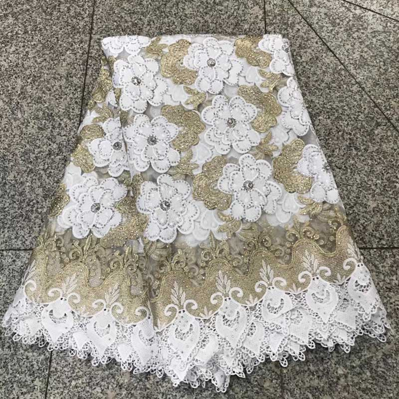 2018 African Lace Fabric High Quality French Net Lace Fabric With Rhinestones White African Lace Fabric