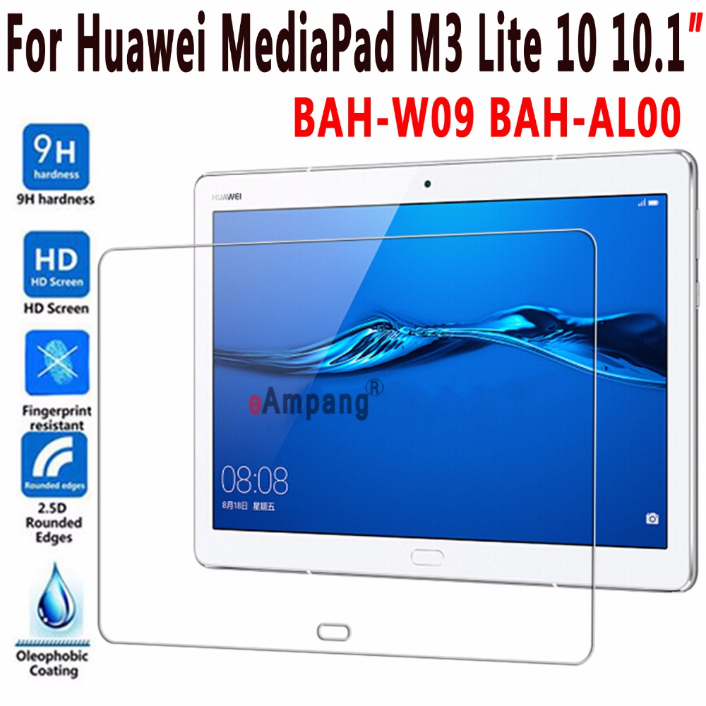 Top Quality 9H Tempered Glass for Huawei Mediapad M3 Lite 10 10.1 BAH-W09 BAH-AL00 Screen Protector for Huawei M3 Lite 10