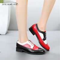 Genuine cow leather brogue casual designer vintage lady flats shoes handmade oxford shoes for women black red white with fur