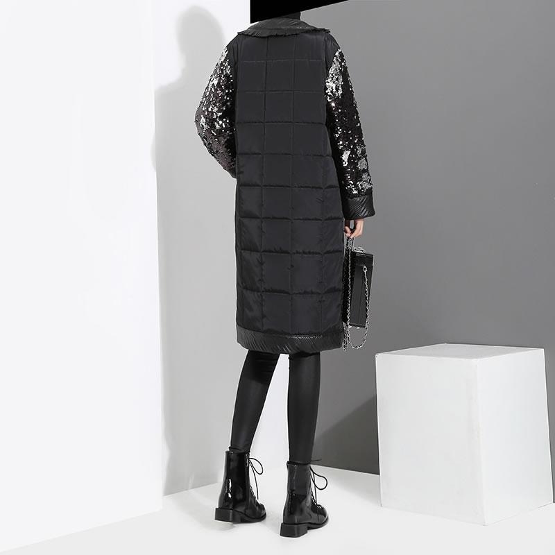Poitrine Couleur Stand Long Col Black Unique Large Femmes Automne Zll2516 Corée Taille 2018 De Mode Paillettes xitao Parka À Solide vqw6ROxR7