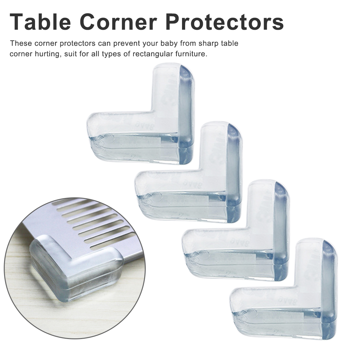4Pcs Child Baby Silicone Safety Protector Table Corner Edge Protection Cover Children Anticollision Edge Child Corner Guards4Pcs Child Baby Silicone Safety Protector Table Corner Edge Protection Cover Children Anticollision Edge Child Corner Guards