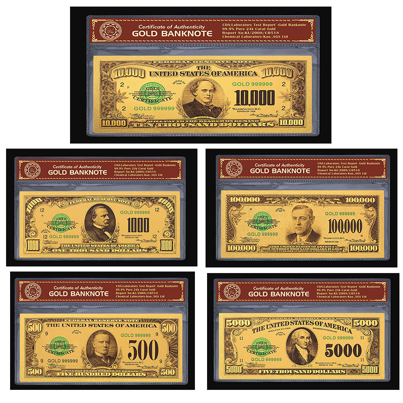 US Gold Plated Banknote Copy Paper Money Five Thousand <font><b>Dollars</b></font> Home Decoration Crafts USD Money Collection