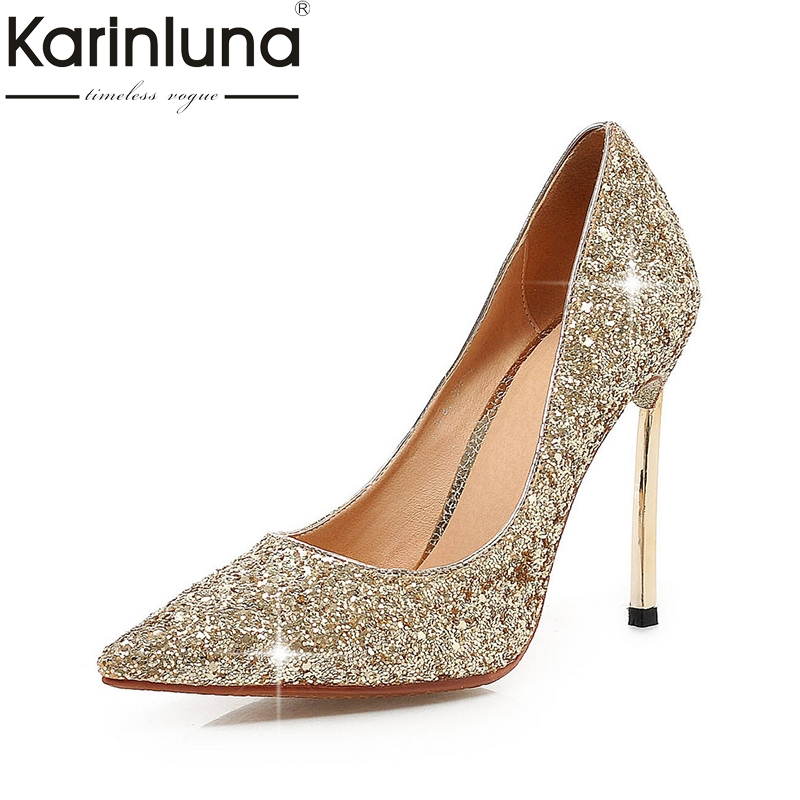 KARINLUNA new large sizes 32-43 pointed toe party shoes women sexy super high heels bling wedding pumps woman shoes gold sliver lucyever fashion buckle crystals bling pumps women elegant thin high heels point toe party wedding shoes woman glod sliver black