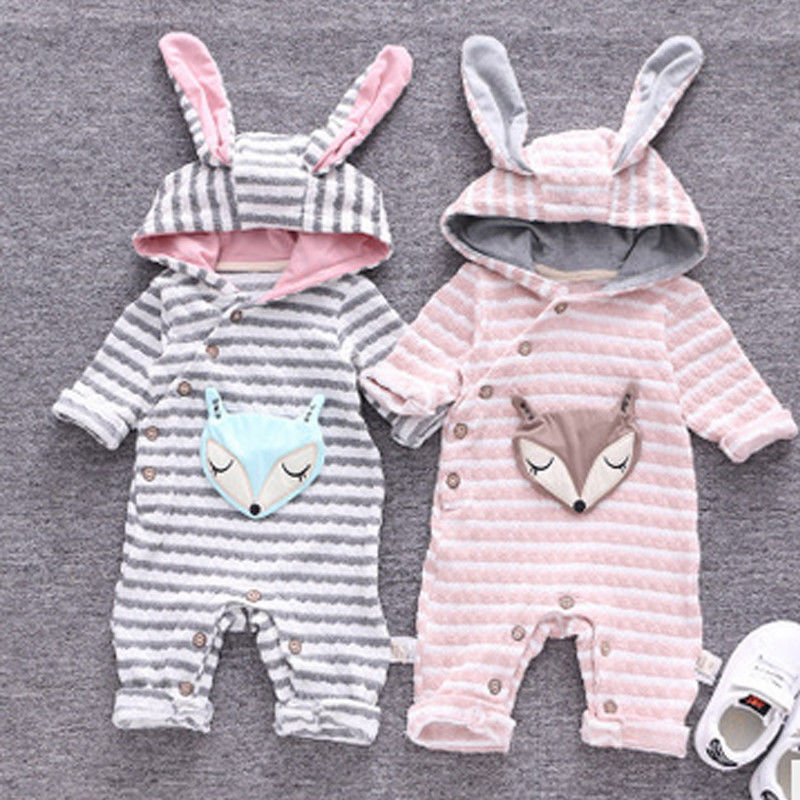 Newborn Baby Infant Boy Girl   Romper   Ears Hooded Jumpsuit Winter Warm Animal 3D Fox Outfit Cute Striped Clothes 0-24