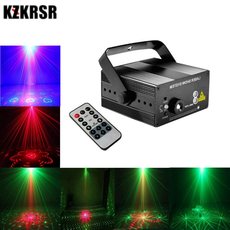 цена на 3 Lens 40 in 1 Blue LED Red & Green Laser Stage Light Remote Control Professional Projector Stage Lighting Effect for KTV Bar
