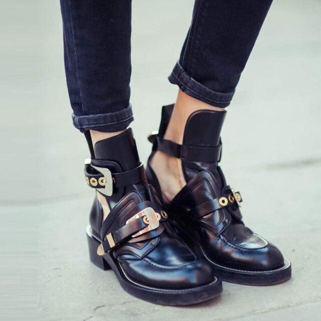 13f142c10bfe Teahoo Gold Silber Schnalle Stiefeletten für Frauen Fashion Cut out  Gladiator Niedrigen Ferse Schuhe Motorrad Stiefel